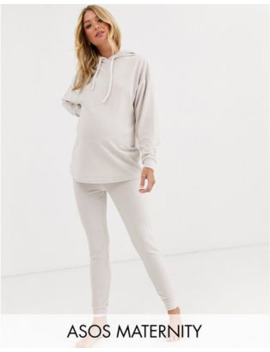 Asos Design Maternity Lounge Ribbed Velour Drop Armhole Hoodie &Amp; Legging Set by Asos Design