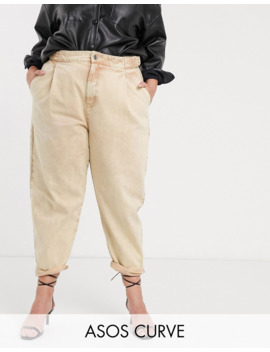 Asos Design Curve Tapered Boyfriend Jeans With D Ring Waist Detail With Curved Seams In Washed Lemon by Asos Design