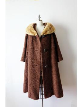 Vintage Brown X Mink Fur Collared Swing Coat /Wool Coat From 1960's by Etsy