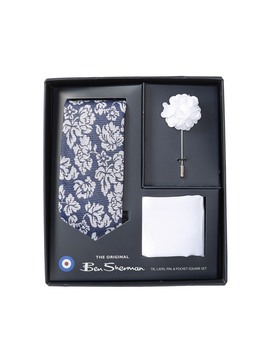 Ian Floral Tie, Pocket Square & Pin Set by Ben Sherman