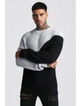 Asymmetric Chunky Knit Jumper by Boohoo Man