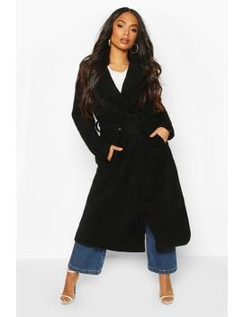 Petite Premium Textured Wool Look Belted Coat by Boohoo