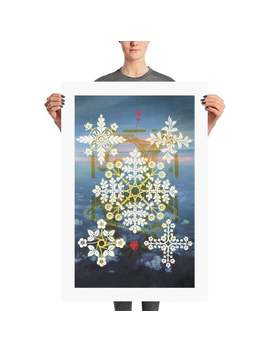 Snow Fractal Snowflake Pop Art | Retro Poster | Wall Art | Trendy | Man Cave Poster | Futuristic Art Décor | Abstract Colorful Surreal Weird by Etsy