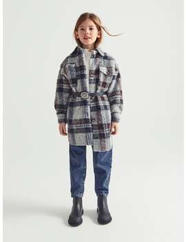 Check Textured Long Overshirt by Zara