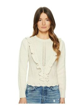 Nwt Rebecca Taylor Ruffled Cable Long Sleeve Pullover, Ecru, Sz S by Rebecca Taylor