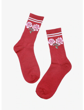 Rose Burgundy Crew Socks by Hot Topic