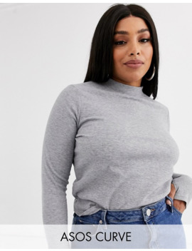 Asos Design Curve Top In Rib With Thumb Hole In Gray Marl by Asos Design