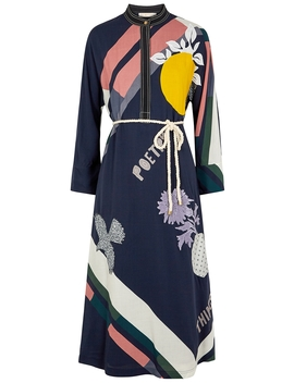 Navy Printed Midi Dress by Tory Burch