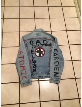 Vintage Levis Bad Religion Atomic Garden Punk Metal Skate Denim Jean Jacket. by Vintage  ×