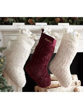 Faux Fur Knit Stockings, Ivory by Pottery Barn