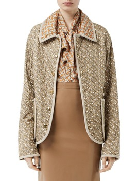 Monogram Logo Print Quilted Silk Jacket by Burberry
