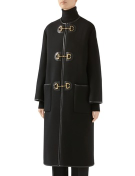 Horsebit Toggle Leather Trim Wool Blend Military Coat by Gucci