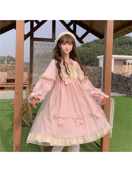 Spring Lolita Sweet Pink Dress Women Autumn Japanese Kawaii Ruffle Mesh Party Dress Teen Girl Long Sleeve Princess Tulle Dresses by Ali Express.Com