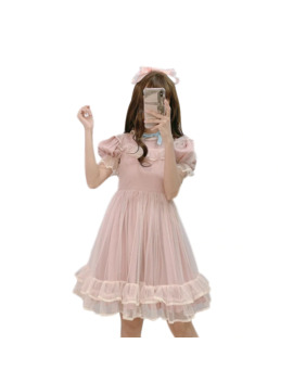 Summer Japanese Lolita Lace Pink Dress Teenage Girls Soft Cute Ruffle Women Short Sleeve A Line Princess Party Mesh Mini Dresses by Ali Express.Com