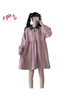 Cute Cartoon Rabbit Pink Hoodie Dress Teenage Girl Kawaii Bear Casual Pullover Japanese Navy Blue Long Sleeve Mini Dresses 2019 by Ali Express.Com
