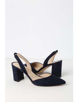 Cup 2 Dark Blue Suede Pointed Toe Slingback Pumps by Marc Fisher