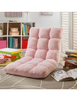 Loungie Microplush Modern Armless Quilted Recliner Chair With Foam Filling And Steel Tube Frame, Light Pink by Loungie
