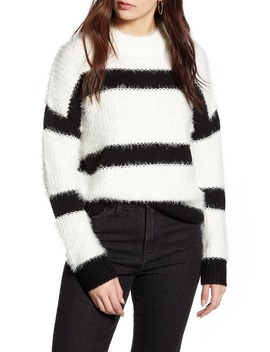 Stripe Mock Neck Eyelash Sweater by Cotton Emporium