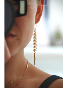 Gold Sword Earrings, Gold Dagger Earrings, Knife Earrings, Edgy Statement Earrings by Etsy