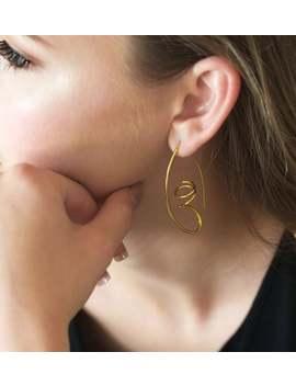 Geometric Gold Earrings, Unique Handmade Earrings, 18k Gold Vermeil by Etsy