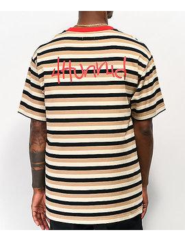 4 Hunnid Striped Up Cream &Amp; Black T Shirt by 4 Hunnid