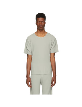 Grey Pleated T Shirt by Homme PlissÉ Issey Miyake