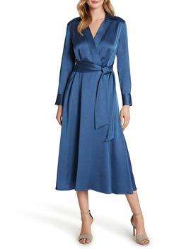 Wrap Front Long Sleeve Satin Midi Dress by Tahari