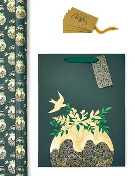 Figgy Pudding Christmas Wrapping Paper, Gift Bag &Amp; Tags Collection by Marks & Spencer