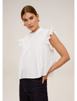 Plated Combined Blouse by Mango