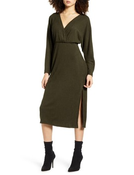 Ribbed Long Sleeve Midi Sweater Dress by All In Favor