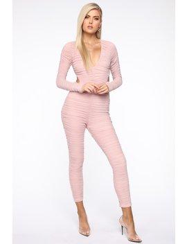Haute Mesh Ruched Jumpsuit   Blush by Fashion Nova