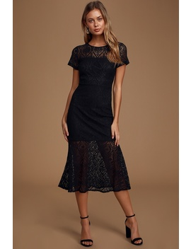 New York Minute Black Lace Midi Trumpet Dress by Lulus
