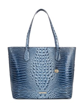 Melbourne Collection Misha Crocodile Embossed Tote Bag by Brahmin