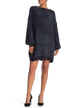 Chenille Balloon Sleeve Sweater Dress by Angie