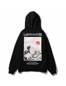 Japan Cat 'law Of Nature' Embroidery Hoodie by Etsy
