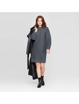 Women's Long Sleeve Crewneck Sweater Dress   Prologue™ Gray by Prologue