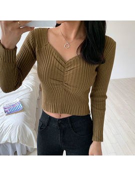 Envy Look   Sweetheart Neck Rib Knit Cropped Top by Envy Look