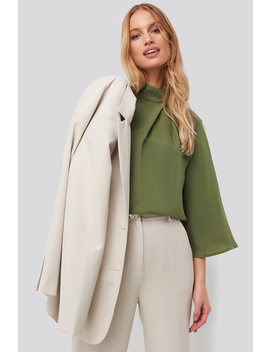 High Neck Wide Sleeve Blouse Green by Na Kd