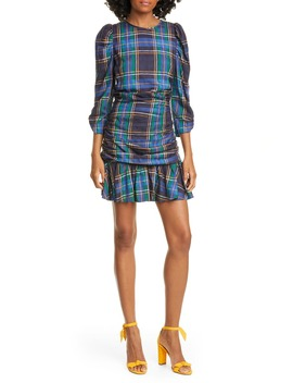Raven Plaid Puff Sleeve Mini Dress by Tanya Taylor