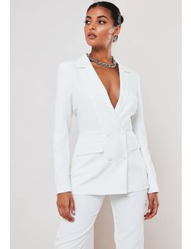 White Co Ord Double Breasted Blazer by Missguided