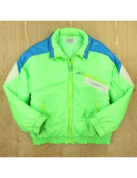 Vtg 90s Cb Sports Jacket Large Neon Hot Colorblock Aesthetic Vaporwave Ski by Cb Sports