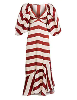 Parada En Altamar Striped Silk Puff Sleeve Maxi Dress by Johanna Ortiz