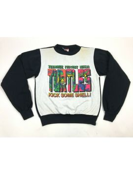 Vtg 90s Tmnt Ringer Sweatshirt Kick Some Shell Aesthetic Youth L Usa Vaporwave by Division 1