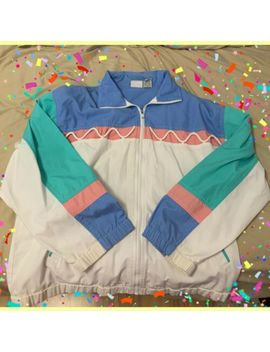 Vintage Large Koret Francisca Blue Pink Aqua White Windbreaker Jacket Aesthetic by Koret