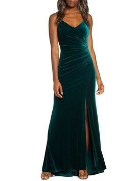 Ruched Side Slit Velvet Evening Gown by Vince Camuto