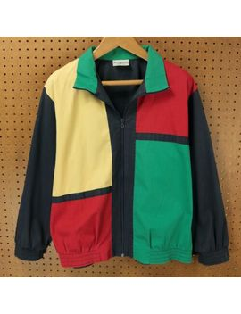 Vtg 80s 90s Usa Made Colorblock Jacket 18 Tag Alfred Dunner Aesthetic Hip Hop by Alfred Dunner