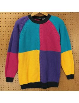 Vtg 80s 90s Lizwear Colorblock Sweater Medium Shoulder Pads Aesthetic Fun by Lizwear
