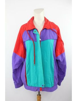 Vtg Casual Isle Women's Red Color Block 90 S Aesthetics Throwback Jacket Size M by Casual Isle