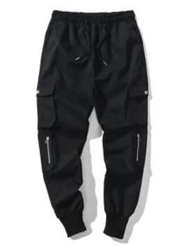 Hot Solid Color Multi Pocket Drawstring Jogger Pants   Black L by Zaful