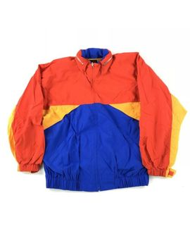 Vintage 90s Primary Color Block Windbreaker Hooded Jacket Full Zip Women's Large by Liz Sport